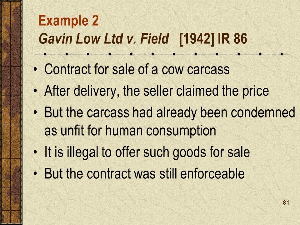 Example 2 Gavin Low Ltd v. Field [1942] IR 86